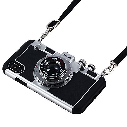 Retro Camera Case for iPhone with Neck Strap